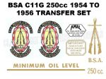 BSA C11 250cc 1954 to 1956 Transfer  Decal Set